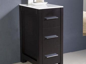 UsiRama.com - colonne de salle de bain design 79cm noir - Meuble De Salle De Bains