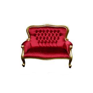 DECO PRIVE - banquette en velours rouge de style boudoir bois d - Canapé 2 Places