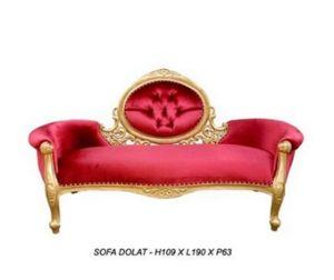DECO PRIVE - méridienne baroque dorée et velours rouge modèle d - Canapé 2 Places