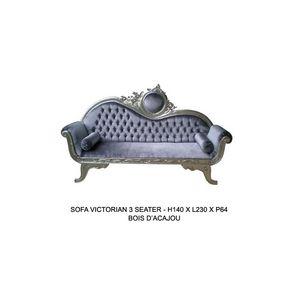 DECO PRIVE - canapé de style en bois argenté et velours gris vi - Canapé 3 Places
