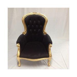 DECO PRIVE - fauteuil capitonné velours noir - Fauteuil