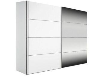 WHITE LABEL - dressing kick 202cm en melaminé blanc mat et miroi - Armoire À Portes Coulissantes