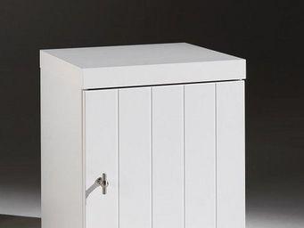 WHITE LABEL - chevet robin design blanc 1 porte - Table De Chevet