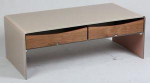 WHITE LABEL - table basse loft en verre taupe 2 tiroirs - Table Basse Rectangulaire