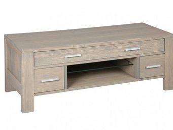 WHITE LABEL - meuble tv hans en chêne massif gris taupe - Meuble Tv Hi Fi