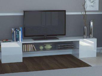 WHITE LABEL - meuble design tv modern b blanc - Meuble Tv Hi Fi