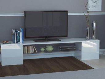 WHITE LABEL - meuble design tv modern b blanc - Meuble Tv Hi Fi