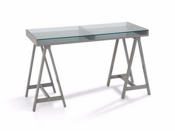 WHITE LABEL - bureau study gris plateaux en verre trempé - Bureau