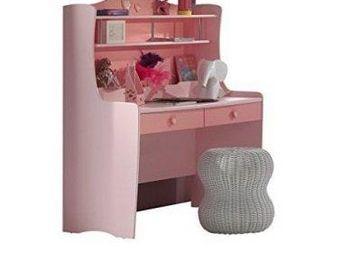 WHITE LABEL - bureau lizzy design laqué rose - Bureau Enfant