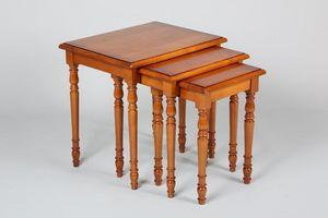 WHITE LABEL - lot de 3 tables gigognes verne en merisier de styl - Tables Gigognes