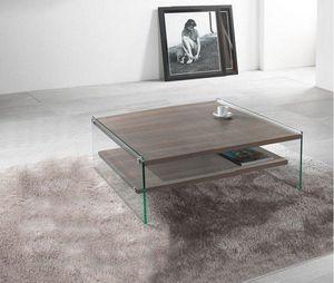 WHITE LABEL - table basse bella 2 plateaux noyer avec piétement  - Table Basse Carrée