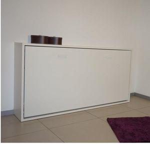 WHITE LABEL - armoire lit horizontale escamotable strada blanc m - Lit Escamotable