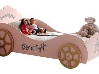 WHITE LABEL - lit voiture funbeds princess pinky design rose - Lit Enfant