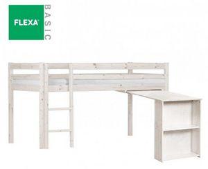Flexa - lit mi haut flexa avec bureau en pin vernis blanch - Lit Mezzanine