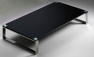 WHITE LABEL - table basse miami design en verre noir - Table Basse Rectangulaire