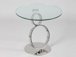 WHITE LABEL - bout de canap� ring en verre - Bout De Canap�