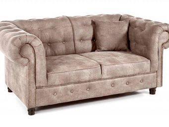 WHITE LABEL - canapé fixe 2 places oxford chesterfield beige cen - Canapé Chesterfield