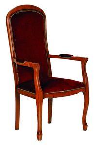 WHITE LABEL - fauteuil assise haute voltaire merisier et velours - Fauteuil
