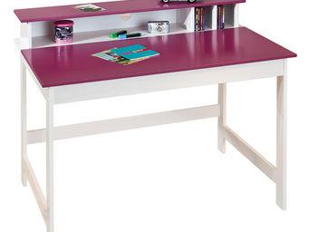 WHITE LABEL - bureau pour chambre enfant blanc et rose magenta - Bureau Enfant