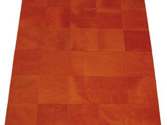 Tergus - tapis peau de vache orange uni ref.c6 - Tapis Contemporain