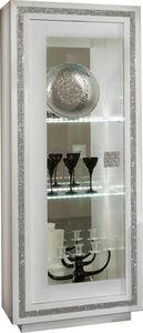 COMFORIUM - vitrine 1 porte ultra design blanc laqué avec stra - Vaisselier