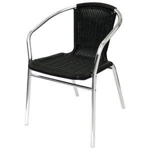 COMFORIUM - lot de 4 fauteuils empilables en rotin coloris noi - Fauteuil De Jardin