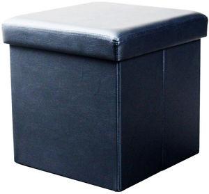 COMFORIUM - pouf de rangement simili cuir coloris noir - Pouf