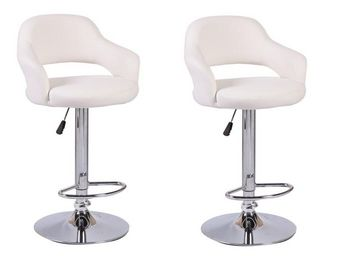 WHITE LABEL - lot de 2 chaises de bar fresh similicuir blanc - Chaise Haute De Bar