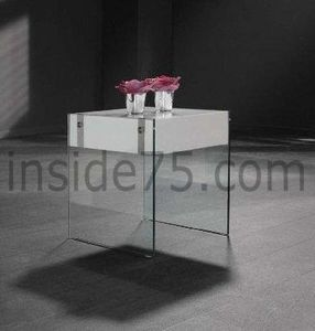 WHITE LABEL - quartz table basse laquée blanc brillant et verre  - Table De Chevet
