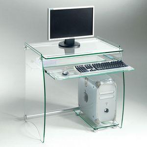 WHITE LABEL - zani bureau en verre transparent - Bureau