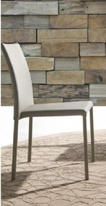 WHITE LABEL - chaise cloe en simili cuir gris - Chaise