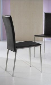 WHITE LABEL - chaise new york en simili cuir noir - Chaise