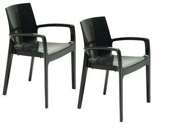 WHITE LABEL - lot de 2 chaises cream empilable design noir - Chaise