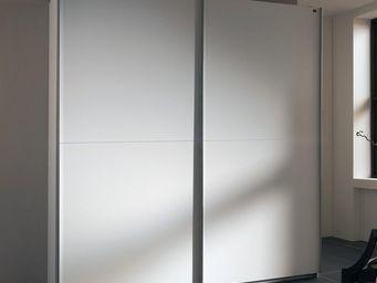 WHITE LABEL - dressing à portes coullissantes light 150 blanc - Armoire Dressing