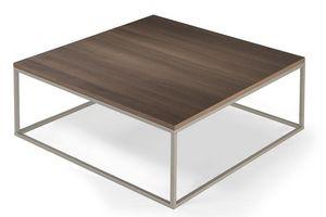 WHITE LABEL - table basse carré mimi céruse orme - Table Basse Carrée
