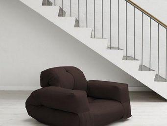 WHITE LABEL - fauteuil lit hippo futon marron couchage 90*200*25 - Fauteuil