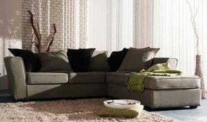 Home Spirit - canapé d'angle fixe watson tissu tweed naturel - Canapé Modulable