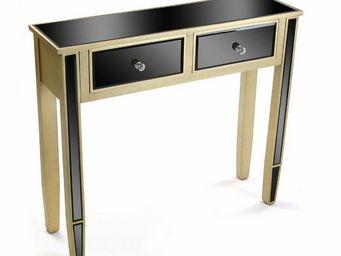 WHITE LABEL - varese console en verre noir design doré 2 tiroirs - Console