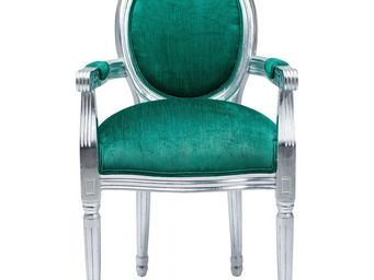 Kare Design - fauteuil baroque louis silver leaf turquoise - Chaise