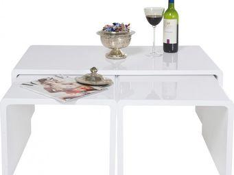Kare Design - table de salon shiny white (3/set) - Table Basse Rectangulaire