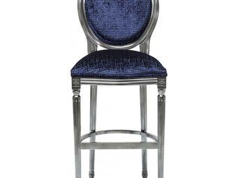 Kare Design - tabouret de bar posh bleu fonc� - Chaise Haute De Bar