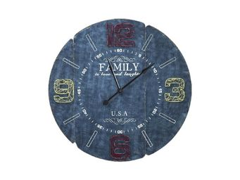 Kare Design - horloge family bleu 105cm - Horloge Murale
