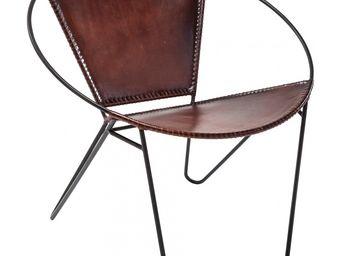 Kare Design - fauteuil rond bucket marron - Fauteuil