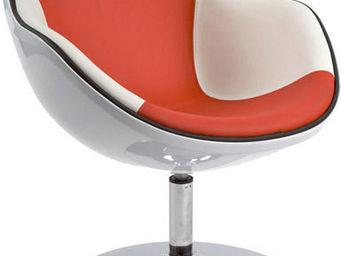 KOKOON DESIGN - fauteuil design daytona blanc/rouge - Fauteuil Rotatif