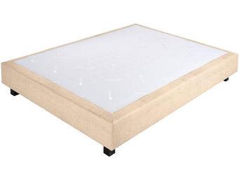 CROWN BEDDING - sommier ressorts chambly tissu beige 90x190 beige  - Sommier Fixe À Ressorts