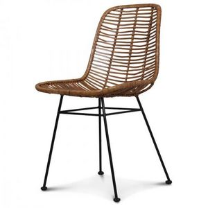 Demeure et Jardin - chaise design metal et rotin malaka - Chaise