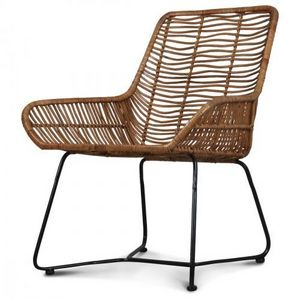 Demeure et Jardin - fauteuil design metal et rotin malaka - Fauteuil