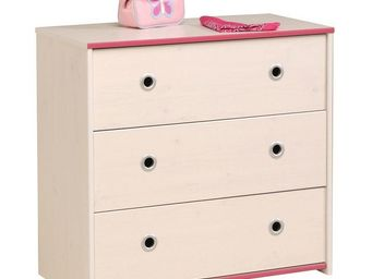 WHITE LABEL - commode 3 tiroirs pin blanc - oggy - l 80 x l 41 x - Commode
