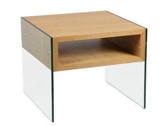WHITE LABEL - bout de canapé verre et bois - zorg n°1 - l 60 x l - Bout De Canapé