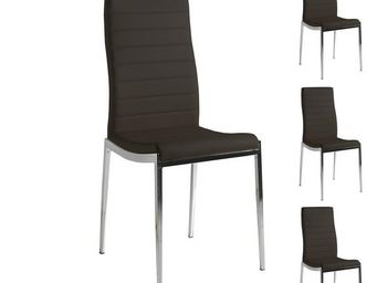 WHITE LABEL - quatuor de chaises eco-cuir noir - vilma - l 53 x  - Chaise